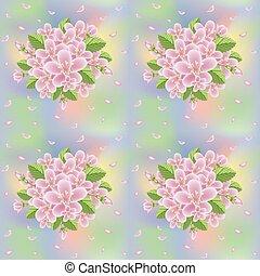 fiore, primavera, seamless, illustrazione, fondo, vettore, sakura