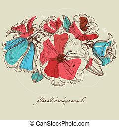 fiore primaverile, fondo, vettore, illustrazione