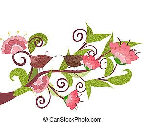 fiore, ramo, con, uccelli