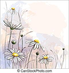 fiore, romantico, fondo., margherite