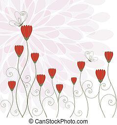 fiore, rosso, farfalla