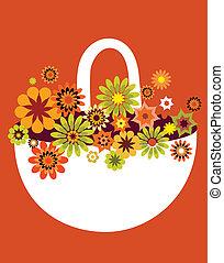 fiore, scheda, primavera, illustrazione, vettore, cesto
