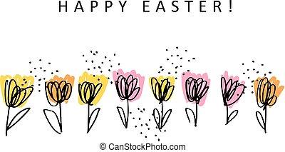 fiore, schizzo, scheda, vettore, illustrazione