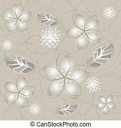 fiore, seamless, carta da parati, argento