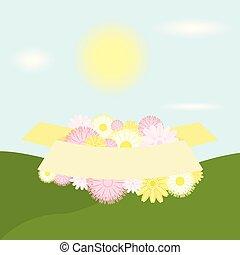 fiore, season., illustration., colorito, primavera, vettore, disegno, saluti, fondo, floreale, verde, bandiera, elementi