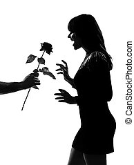 fiore, silhouette, offerta, rosa, mano, elegante, uomo
