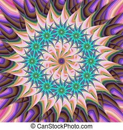fiore, stella, colorito, astratto, fondo, fractal