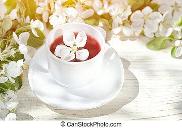 fiore, tè, soleggiato, fondo., tazza, legno, bianco, giorno