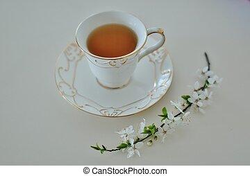 fiore, tè, verde, tazza