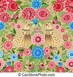 fiore, uccelli, struttura, seamless