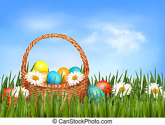 fiore, uova, fondo., grass., vettore, cesto, pasqua