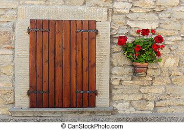 fiore, vecchio, casa, otri, finestra, decorato, fiori