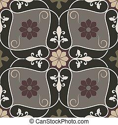 fiore, vendemmia, astratto, pattern., seamless, vettore