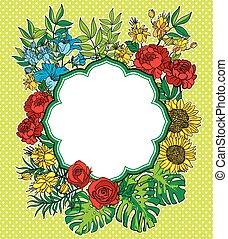 fiore, vendemmia, cornice, vettore, posto, testo