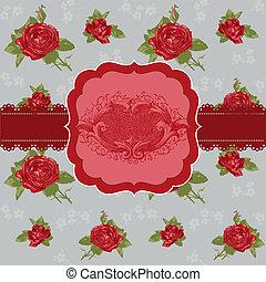 fiore, vendemmia, -, invito, vettore, matrimonio, congratulazione, scheda