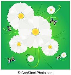 fiore, verde, daisywheel, fondo