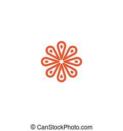 fiore, vettore, lineare, logo., arancia, art linea, sole,...