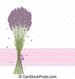 fiore viola, lavanda, scheda, augurio