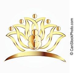 fiore, yoga, oro, loto, logotipo, uomo