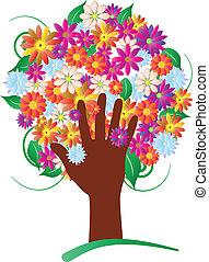 fiori, albero, mano