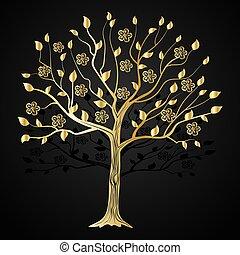 fiori, albero, oro