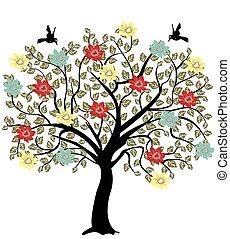 fiori, albero, simbolo, silhouette, natura
