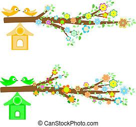 fiori, albero, uccelli, ramo