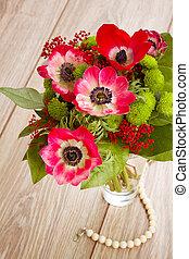 fiori, anemone rosso, posy