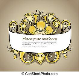 fiori, bandiera, ornato, oro