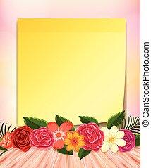 fiori, blocco note, giallo, colorito