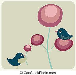 fiori, carino, uccelli