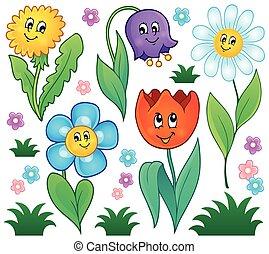 fiori, cartone animato, collezione, 4