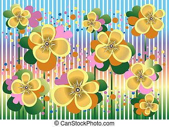 fiori coloriti, pallido, giallo, b