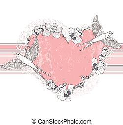 fiori, cuore, birds., fatto