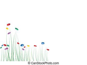 fiori, cuori, primavera, vettore