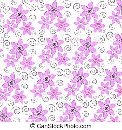 Rosa Stilizzato Sfondo Beige Fiori Bianchi