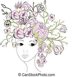 fiori dentellare, donna, giovane, faccia