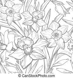 fiori, disegnato, narciso, mano, monocromatico, vettore, tromboni