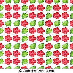 fiori, disegno, seamless, fondo, rosso