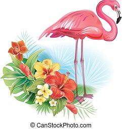 fiori, disposizione, tropicale, fenicottero