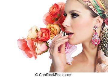 fiori, donna, bello