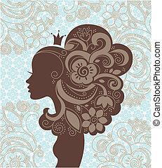 fiori, donna, silhouette, bello