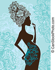 fiori, donna, silhouette, incinta
