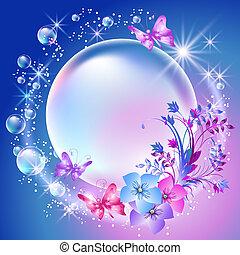 fiori, e, bolle