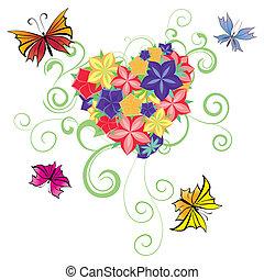 fiori, e, farfalle, cuore