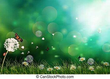 fiori, e, farfalle