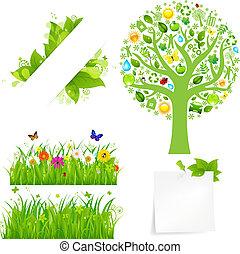 fiori, erba, albero, verde