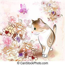 fiori, farfalla, poco, tabby, augurio, acquarello, compleanno, retro, gattino, style., scheda
