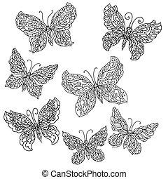 fiori, farfalle