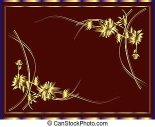 fiori, fondo, oro